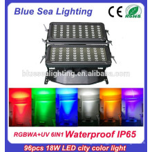 Super 96pcs 18w 6 in 1 rgbwauv led city color for building wash