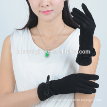 Black suede women leather gloves,handmade bowknot decorate leather gloves