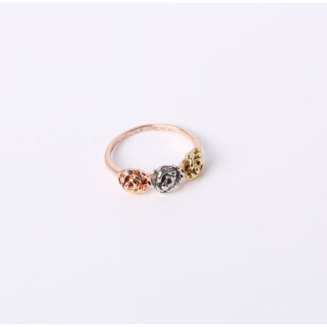 Rose Flower Design Ring Tri-Tone Finish