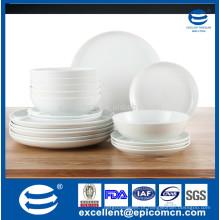 Excelentes produtos de casa, 18pcs jantar de porcelana branca definido para hotel, jantar por atacado conjunto
