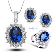 Jewellery Set -Sterling Silver with Tanzanite (S3328)