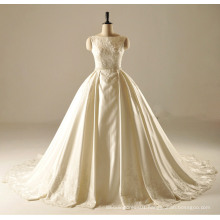 Boat Neck Pleat Skirt Wedding Gown