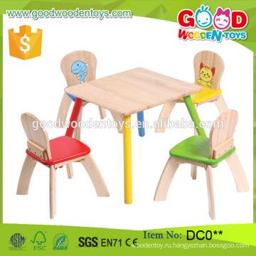 Модный стиль Новый высококачественный деревянный стол для детей и набор из 4 стульев оптом China Alibaba