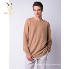 Camisola de caxemira tricotada costela costurada à mão masculina
