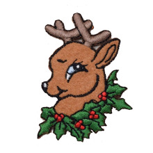 Christmas Reindeer Head with Holly Wreath Patch