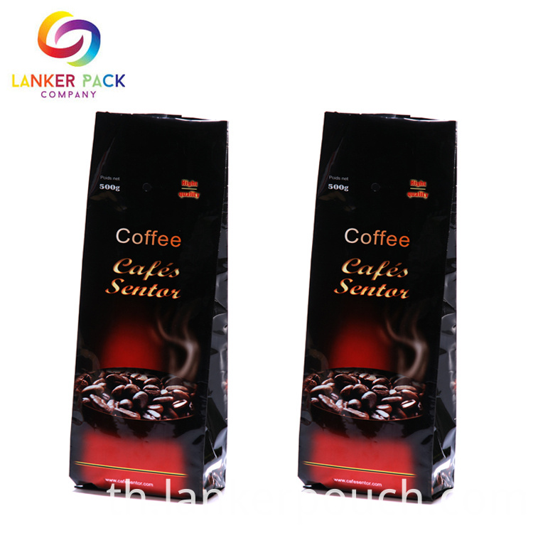 Custom Reusable Quad Seal Coffee Bean Packaging Bags