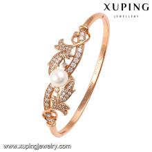 51476 Moda elegante color oro rosa CZ diamante joyería de imitación brazalete con perlas