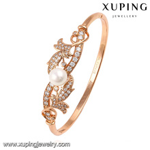 51476 Fashion Elegant Rose Gold Color CZ Diamond Imitation Jewelry Bangle with Pearls