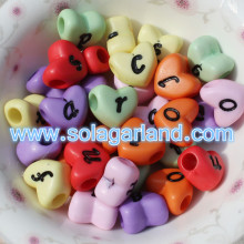 8*11MM Heart Shape Beads With Black Lower Case Letters Alphabet Charms