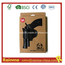 Черный PVC бумажный блокнот с формой пистолета