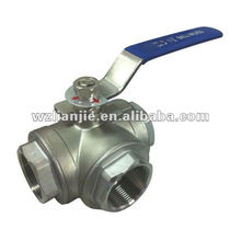"""1 1/2"""" CF8M Stainless Steel 3 Way Ball Valve Screwed Ends"""