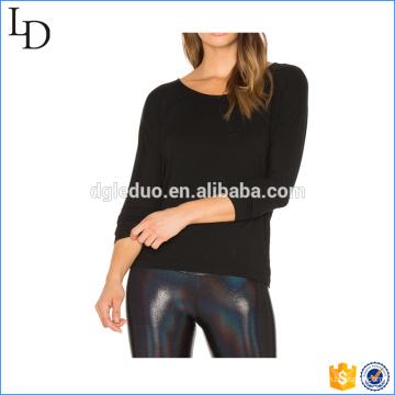 На спине вырез пользовательские T рубашки женщин хлопка с длинным рукавом рубашка