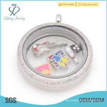 HIgh Qualität Paar Foto-Medaillon, Silber matt Speicher Medaillons, klar Acryl-Medaillon