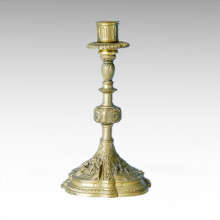 Estatua del sostenedor de la vela Escultura de bronce de una sola cabeza de la candelero Tpch-034/035/036