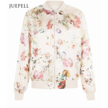 Pink Floral Print Women Bomber Jacket