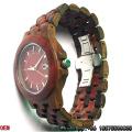 Sândalo Vermelho de Alta Qualidade e Relógios de Quartzo em Madeira Preta Hl01