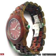 Montres en bois de santal rouge et bois noir de qualité supérieure Hl01
