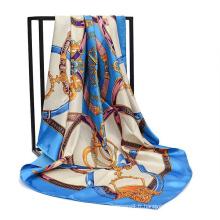 2017 nouvelle conception pas cher coloré promotionnelsatin écharpe 90 * 90 cm