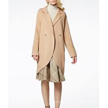 17PKCSC001 mulheres camada dupla 100% casaco de lã de caxemira