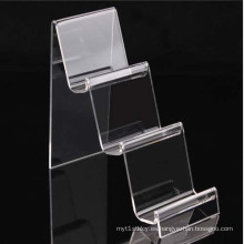 3 Pasos Clear Perspex Wallet Display Mostrar Stands, Estante de acrílico