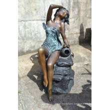 Bronze naked women water fountain for outdoor and indoor