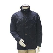 Longue Hiver Stand Collar Pois Manteau Marine Bleu Coupe-Vent Veste Extérieure