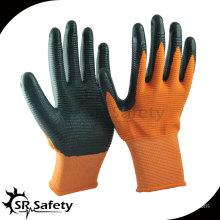 13 gauge knitted orange U3 coated black nitrile gloves/construction gloves