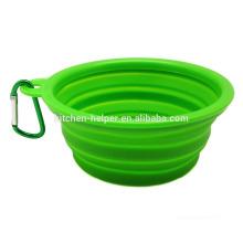 Venta al por mayor de viaje portátil resistente al calor de alimentos de grado de silicona plegable Pet Bowl / Dog Feeder Bowl / plegable Pet Dog Cat Bowl