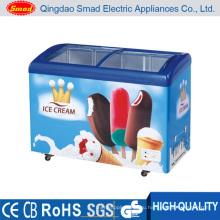 Супермаркет Мороженого Раздвижные Стеклянные Двери Морозильный Ларь