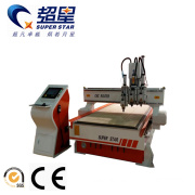 Wooden CNC Router Machine with three pneumatic spindles