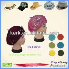 100% lana Sombreros baratos promocionales de los sombreros de encargo rosados del sombrero del knit, LSW18