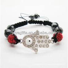 Hamsa shamballa bracelet tissé avec cristal rouge