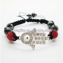 Hamsa shamballa woven bracelet with red crystal
