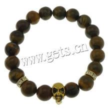 2015 Gets.com Tiger Eye Stone Bracelets Elastic Thread & Iron & Zinc Alloy skull