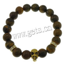 2015 Gets.com Tiger Eye Stone Bracelets Elastic Thread & Iron & Zinc Alloy skull