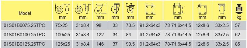 Parameters of 01S01B0075.25TPC