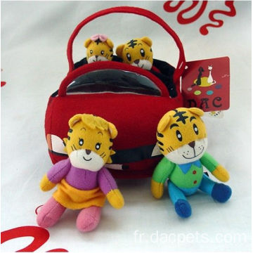 peluche molle Racing Car Tiger famille peluche
