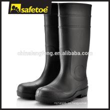 Bota de goma negra, arranque de wellington de PVC, botas de lluvia de estilo europeo W-6037