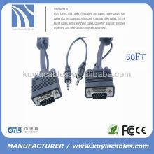 HDDB15 männlich-zu-männliches VGA-Videokabel plus 3,5 mm männlich-zu-männliches Stereokabel