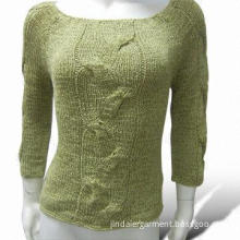 Women's Pullovers with Cable, Made of 100% Acrylic Tape Yarn