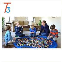 Bolsa de almacenamiento de juguetes para bebés, colchoneta de juegos plegable, para niños Juego de niños organizador de juguetes para niños de Lego, 60 pulgadas (rosa)