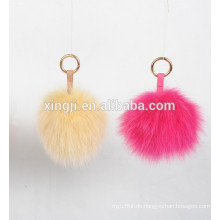 Top Qualität gefärbter Fuchs Pelz Ball Schlüsselanhänger