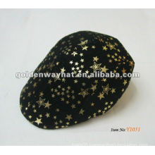 Custom popular golf cap ivy caps flannel star printing for mean beanie hats