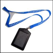 Cordón de encargo de la PU del cuero de la compañía / del identificador de la tarjeta de identificación de la PU con los clips (NLC008)