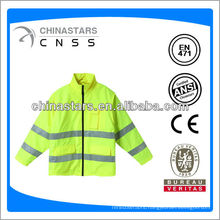 EN471/ANSI cheap hi viz 300D oxford reflective raincoats with zipper front