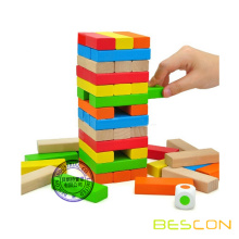 Jogo educacional jenga de madeira colorida com logotipo personalizado tóxicos eco-friendly