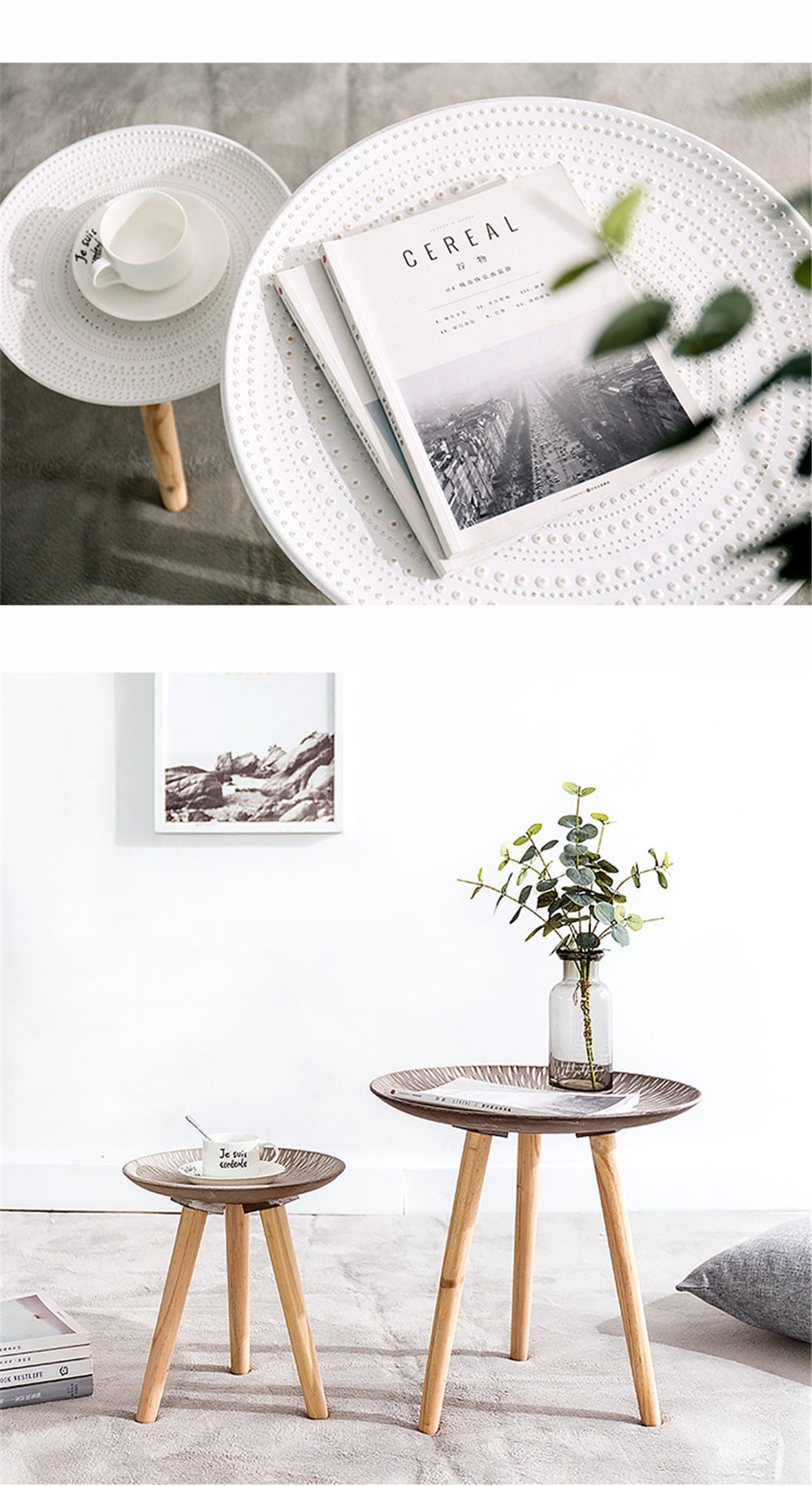 modern simple nordic wooden tea table