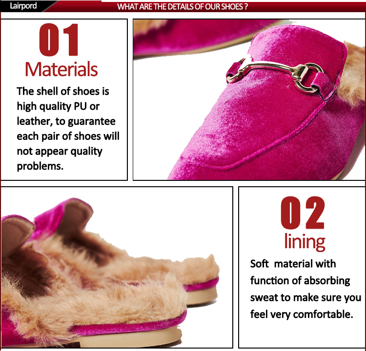 Cotton slippers with fur