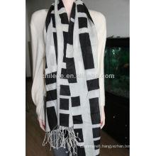 Worsted Mercerized wool printed scarf shawl
