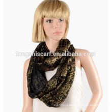 China Fabrik Damenmode 100% Polyester volie bronzing Plain Loop Schal